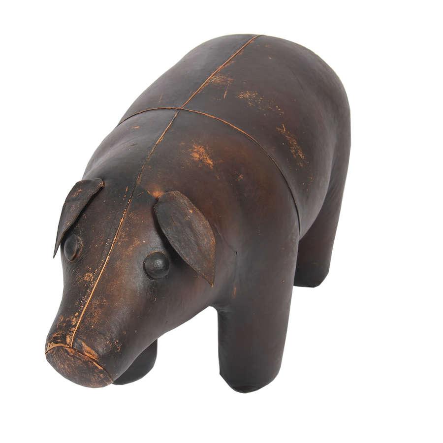 Leather Pig Footstool