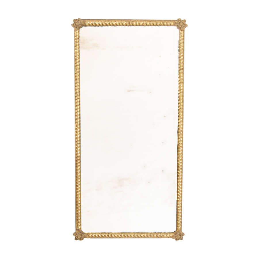 French Giltwood Mirror with Rope Twist Detail