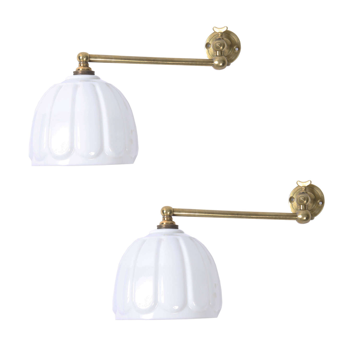 Pair of Brass Wall Lights with Opaline Shades
