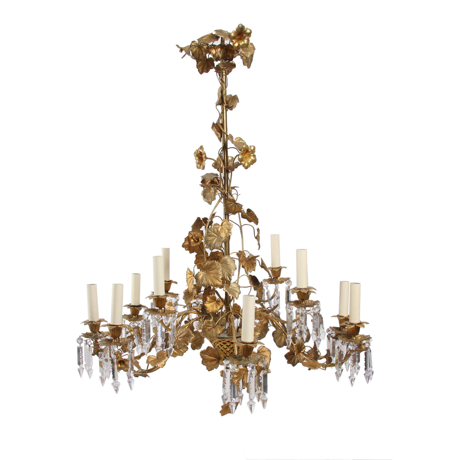 Gilt Metal and Crystal Chandelier With Leaf and Flower Detail