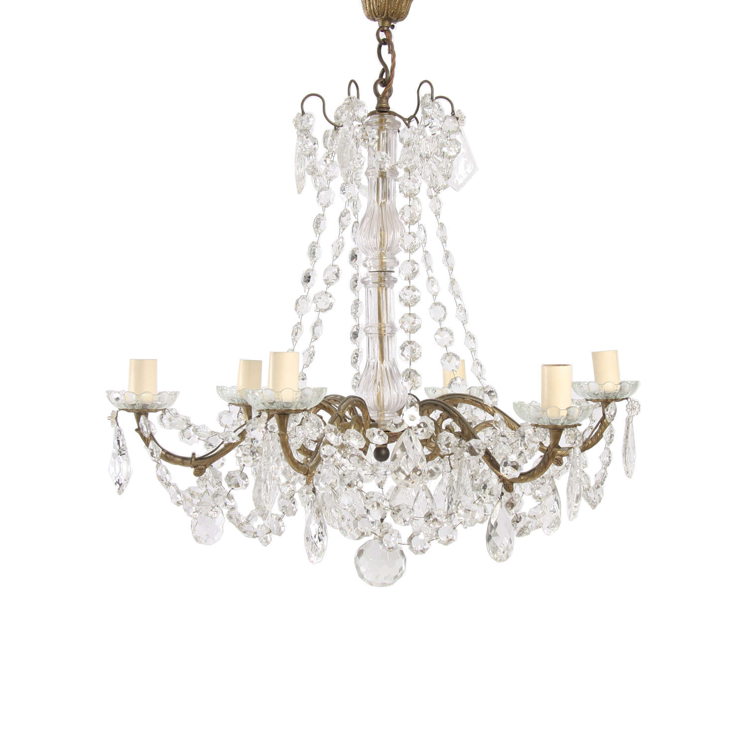 French Gilt Metal and Crystal Chandelier