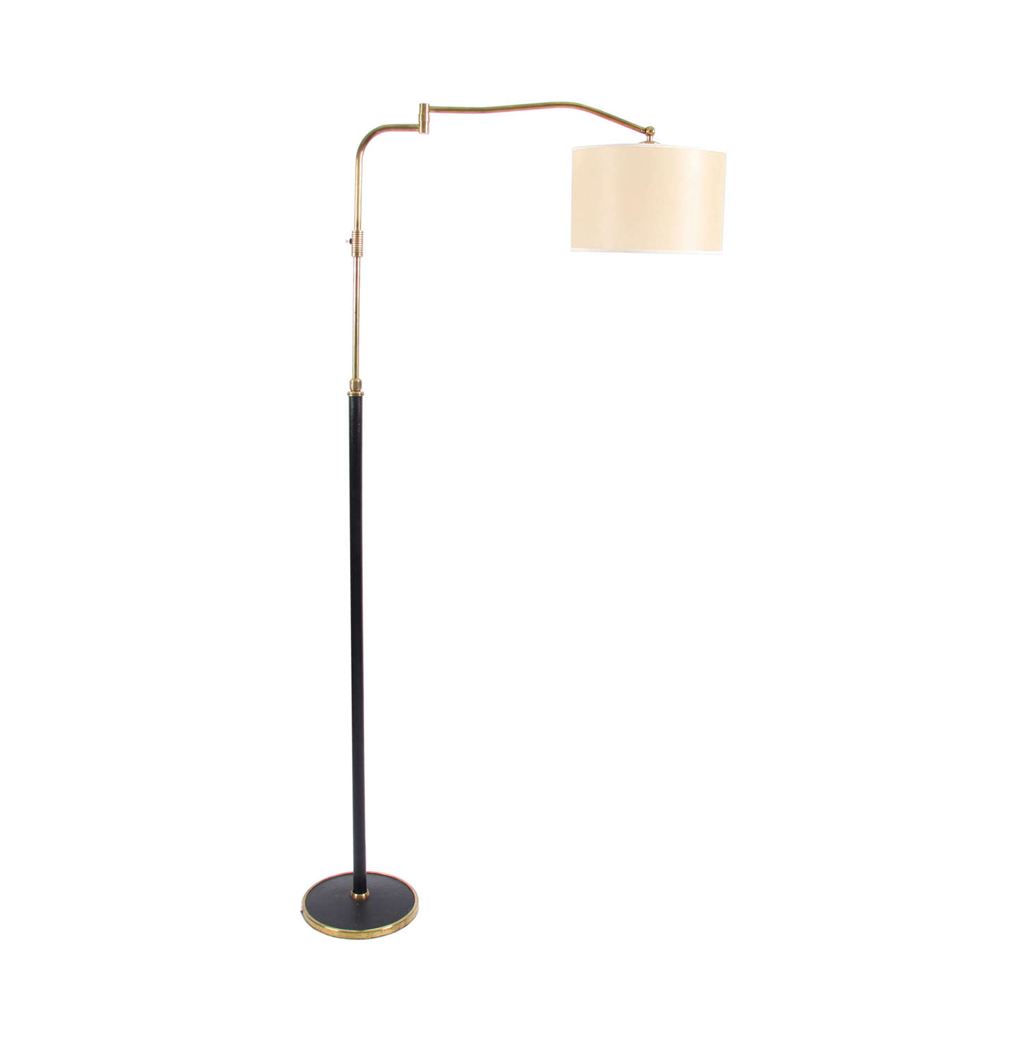 Black Leather and Brass Swing Arm Lamp