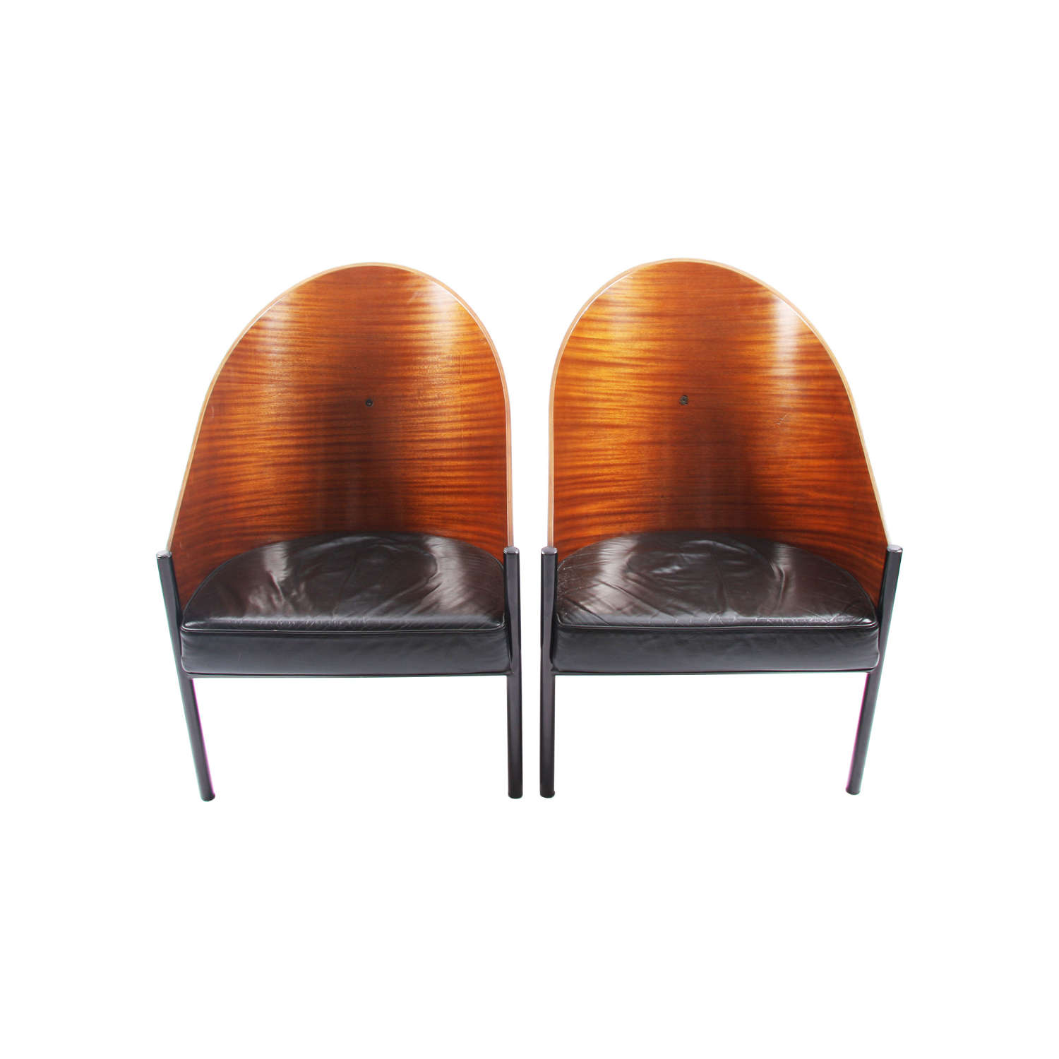 Pair of Phillippe Starck Wood and Leather Chairs