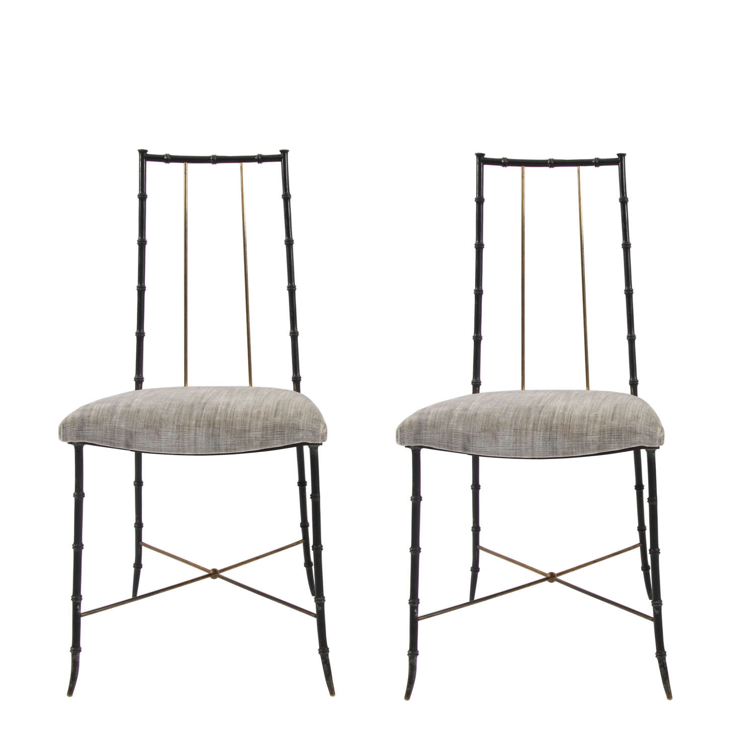 Pair of Faux Bamboo Steel and Brass Chairs