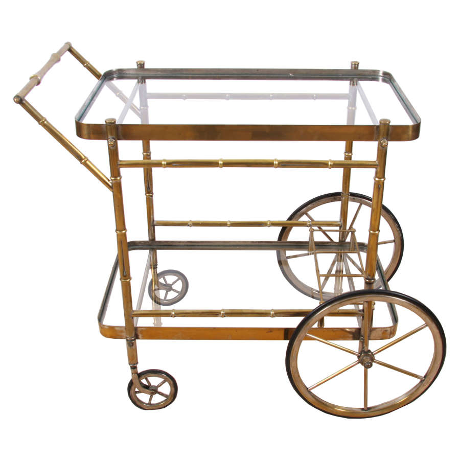 Faux Bamboo Brass Bar Trolley