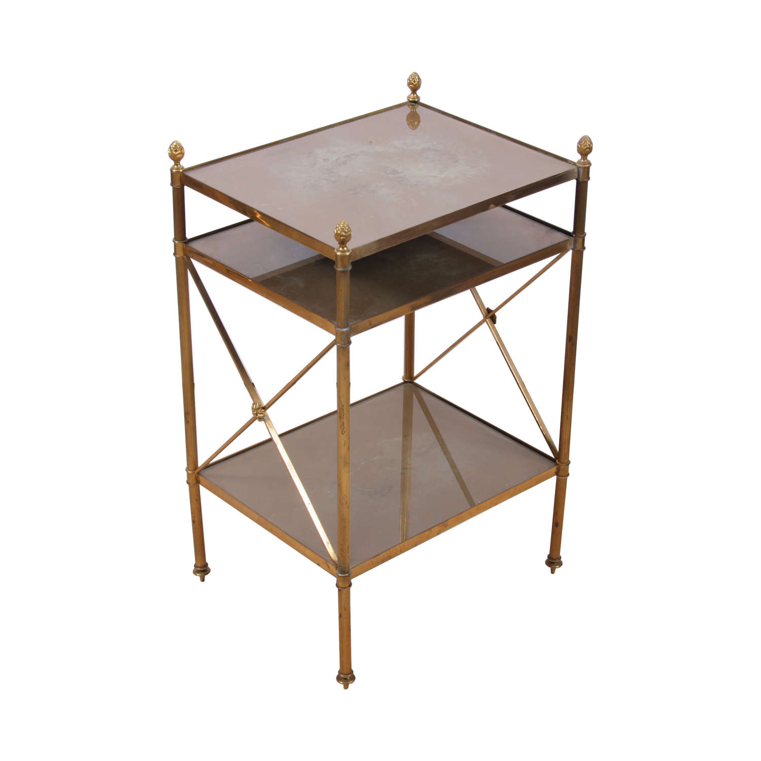Brass and Eglomese Glass Three Tier Side Table