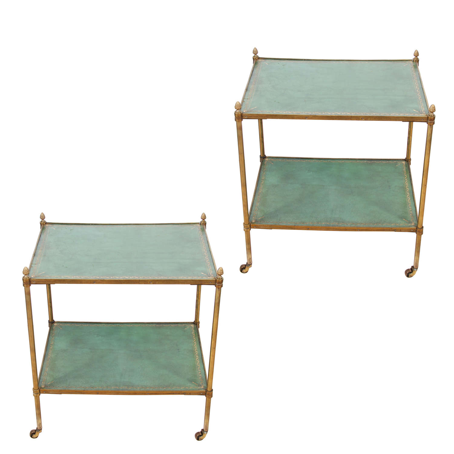 Pair of 1950s English Leather Topped Two Tier Side Tables
