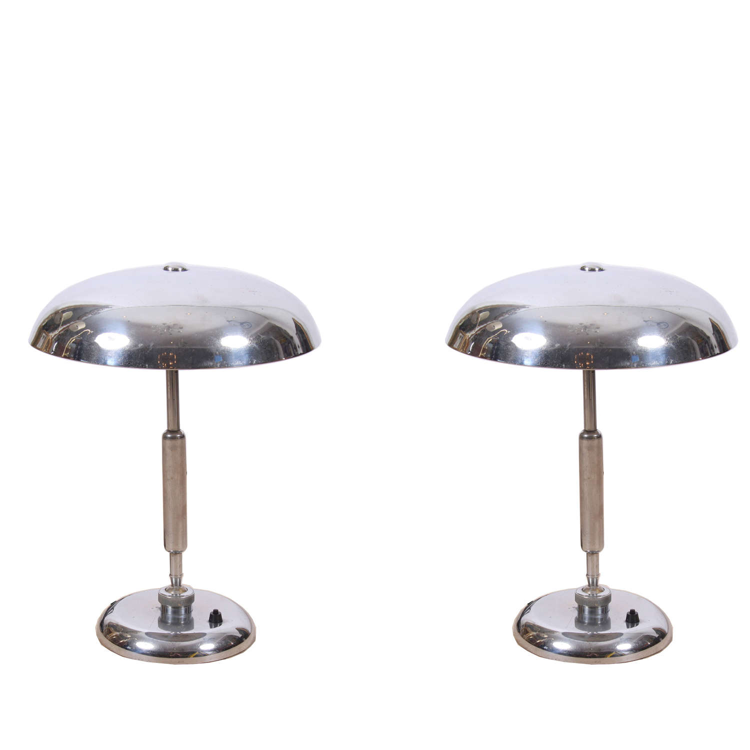 Pair of Nickel Plated Italian 1960s Table Lamps