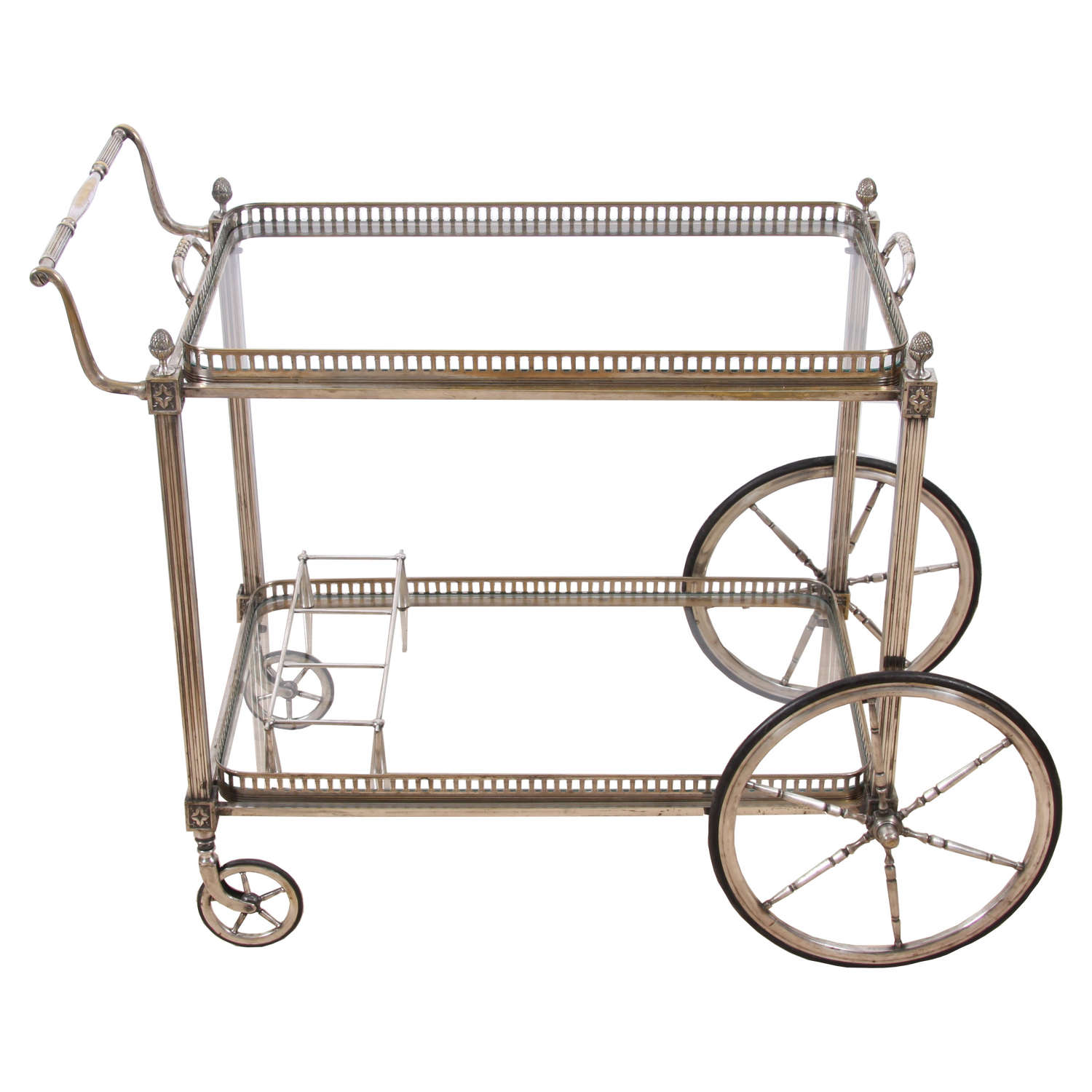 Silver Plate and Glass Bar Trolley With Pineapple Finials