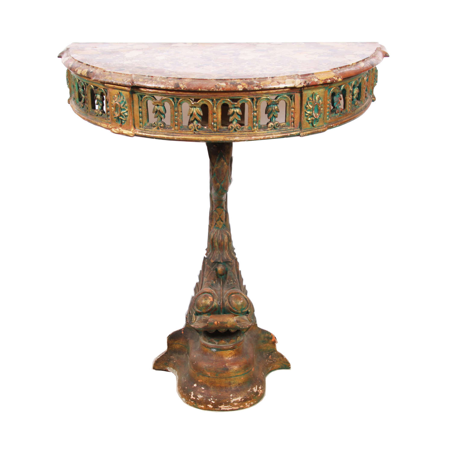 Portuguese Dolphin Console Table With Marble Top
