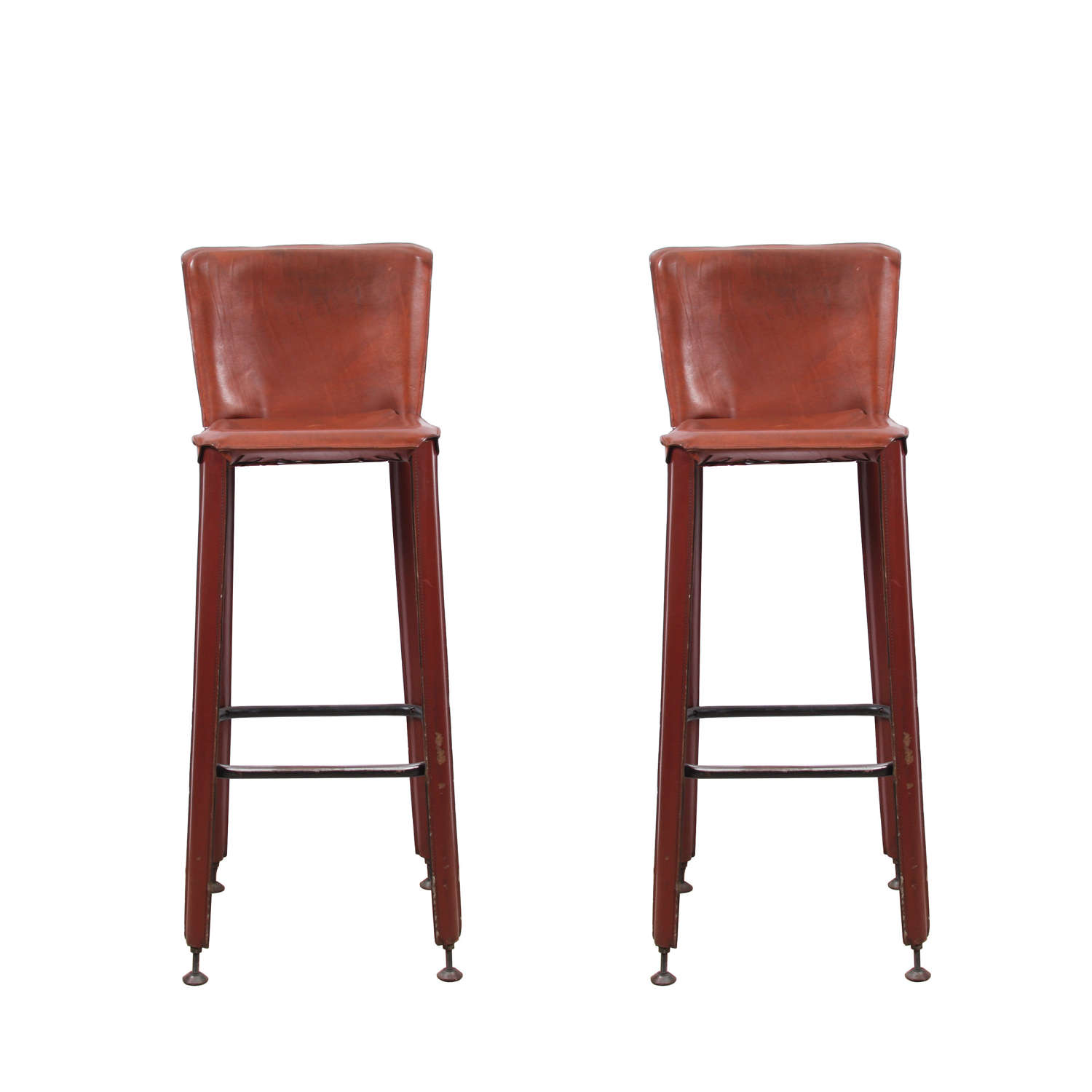 Pair of Mario Bellini Style 1960s Leather Bar Stools