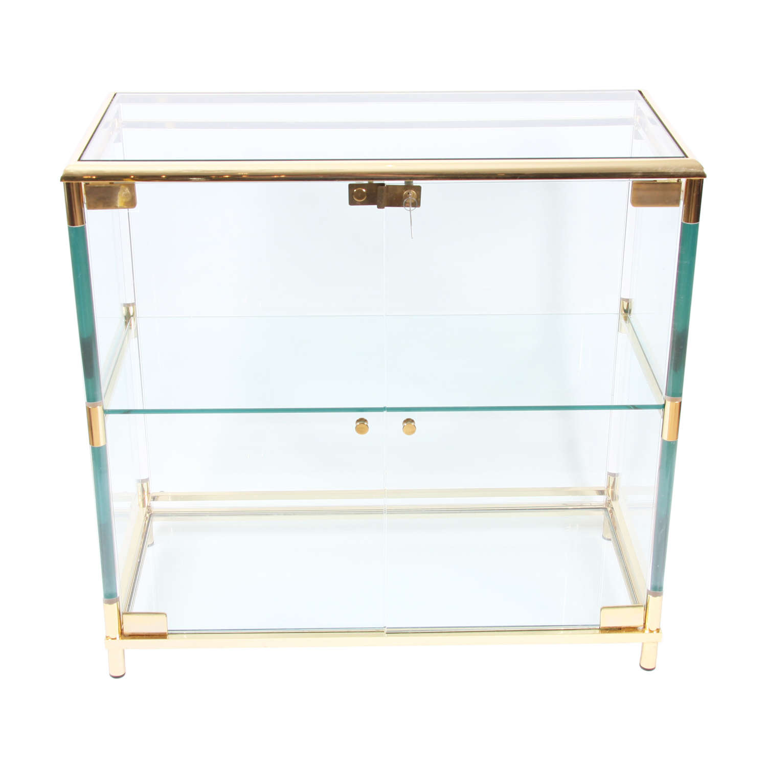 Lucite and Gilt Metal French 1970s Vitrine