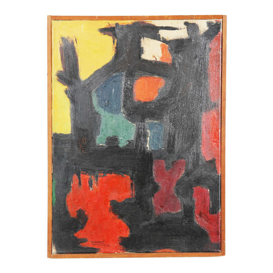 Abstract Oil on Canvas, Signed Baden 1967
