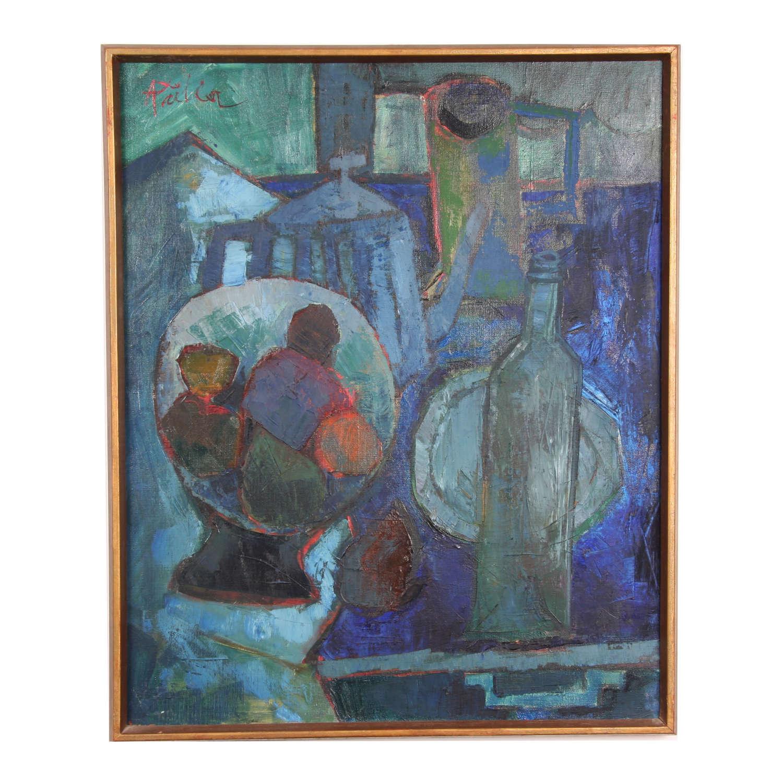 Still Life Oil on Canvas, André Pallier 1950s