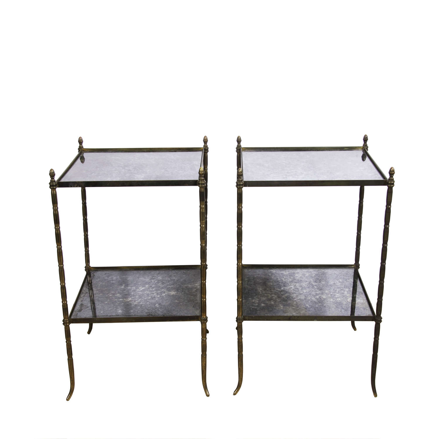 Pair of Mid Century French Brass and Eglomise Glass Side Tables