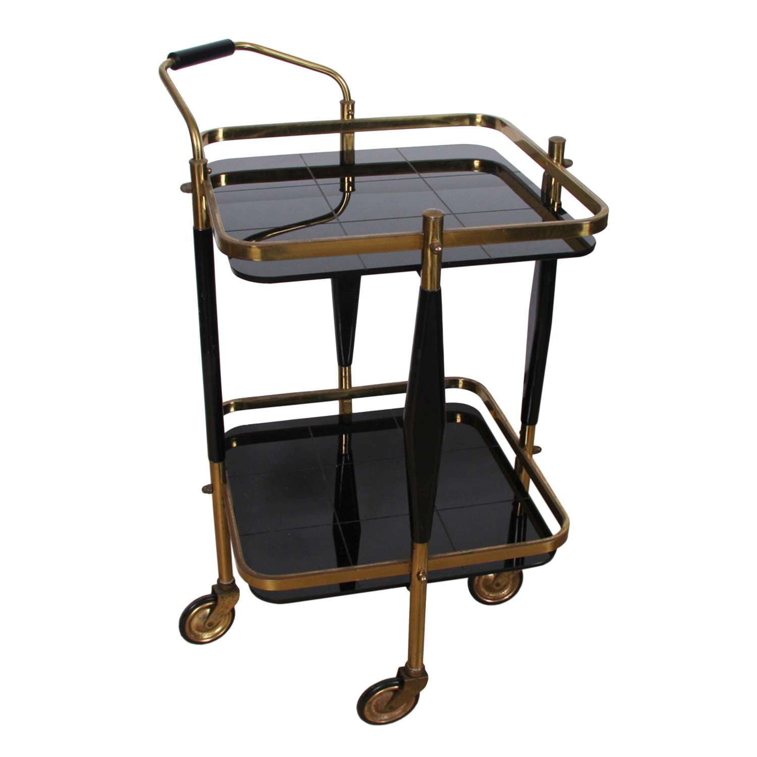 Italian Brass and Black Glass Small 1950s Bar Trolley