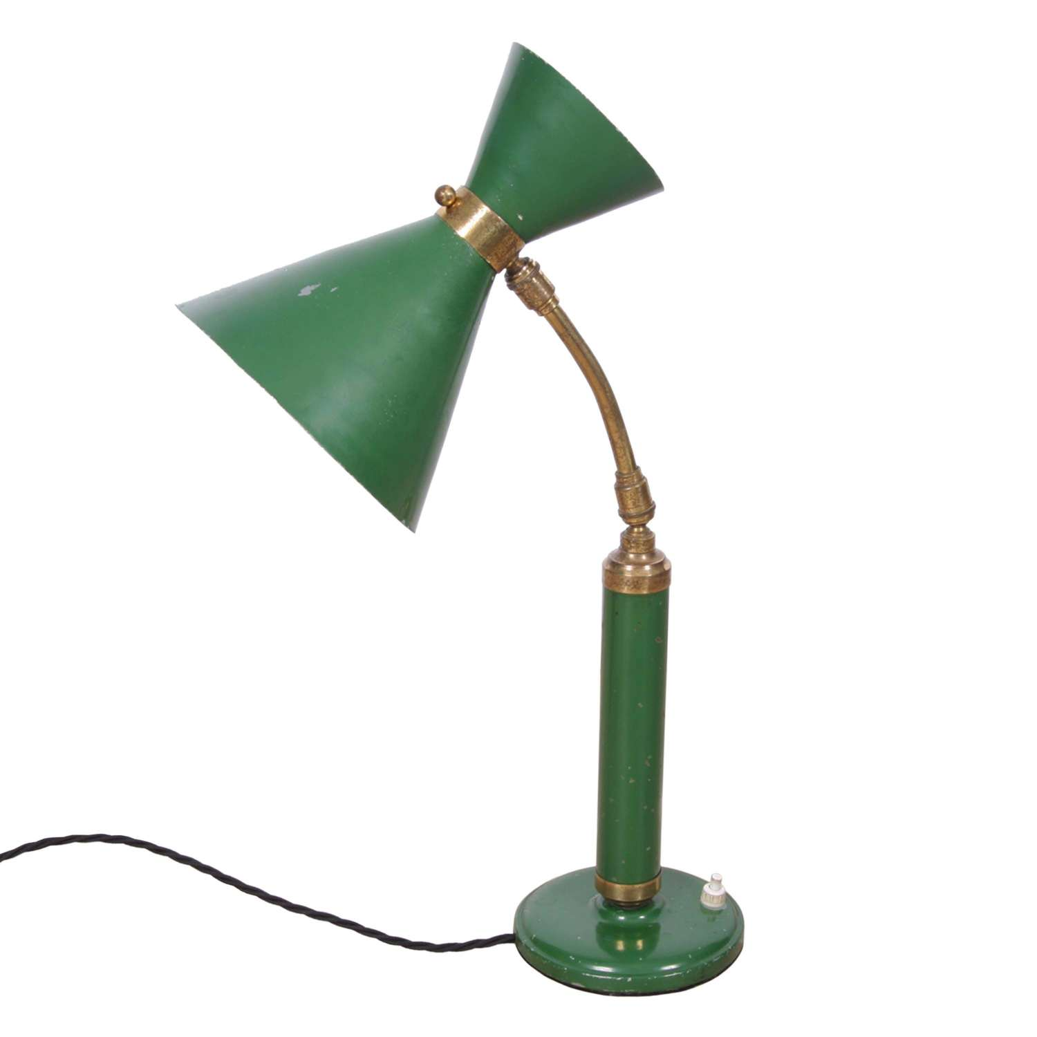 Italian 1950s Desk Lamp With Diablo Green Shade