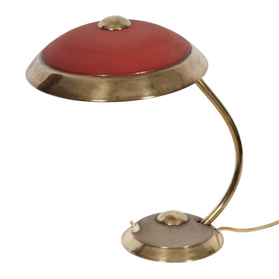 Brass Helo Desk Lamp With Faded Red Detail