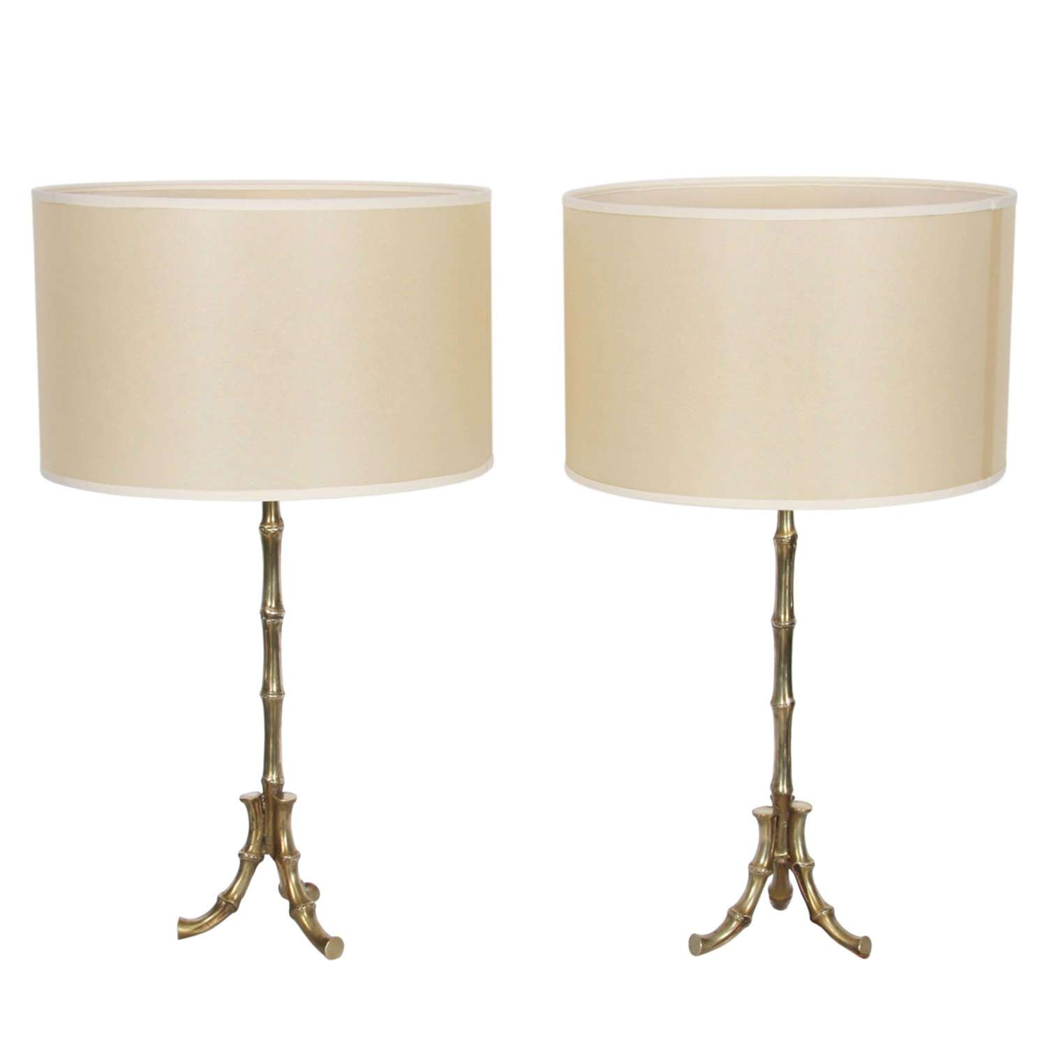 Pair of French 1960s Faux Bamboo Table Lamps