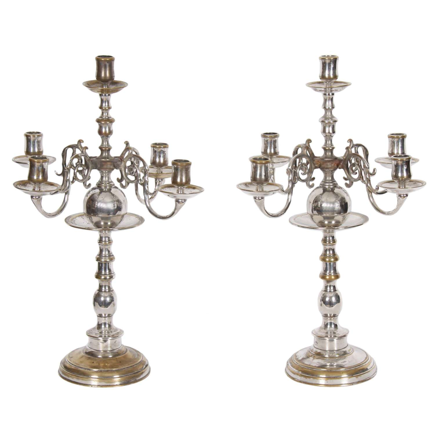 Pair of French Silver Plated Candelabra