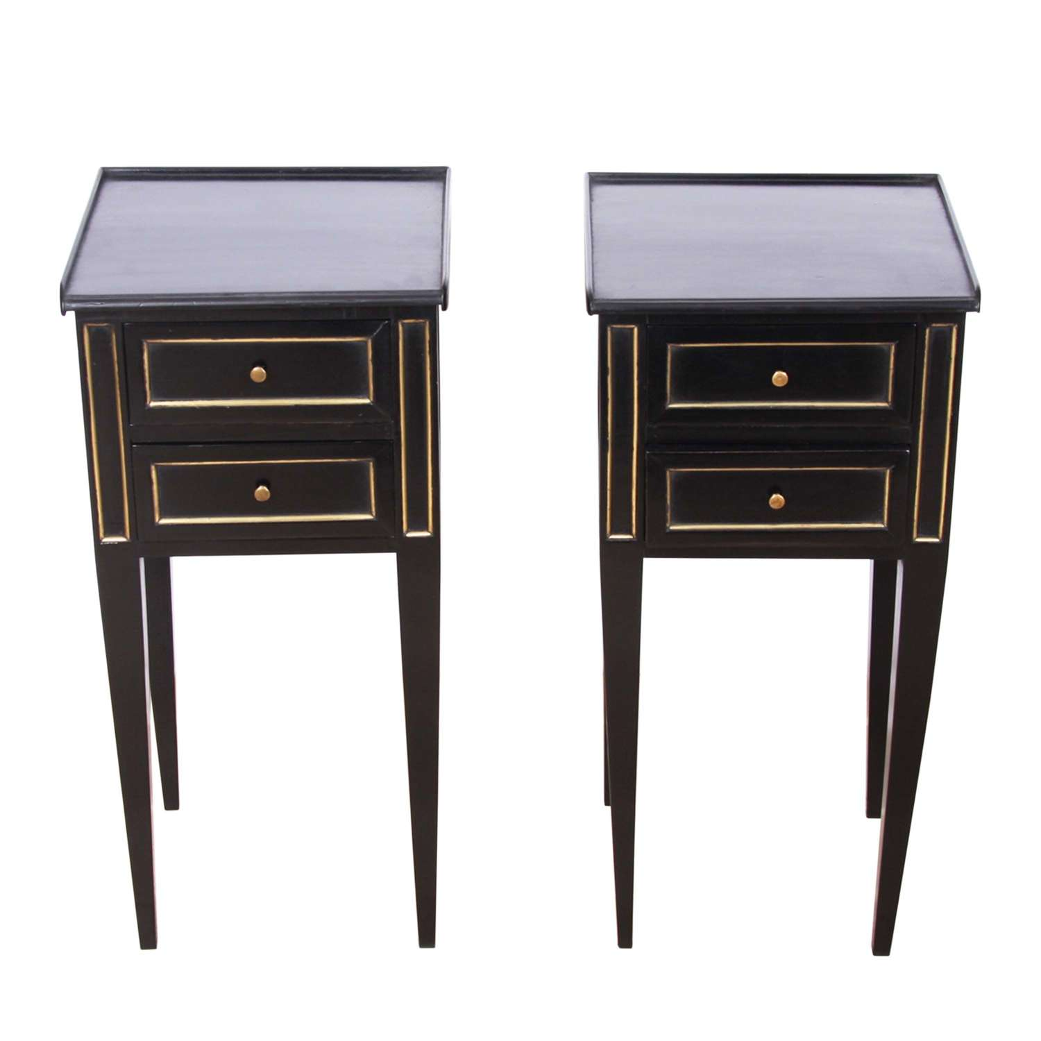 Pair of Early 20th C Ebonised Nightstands