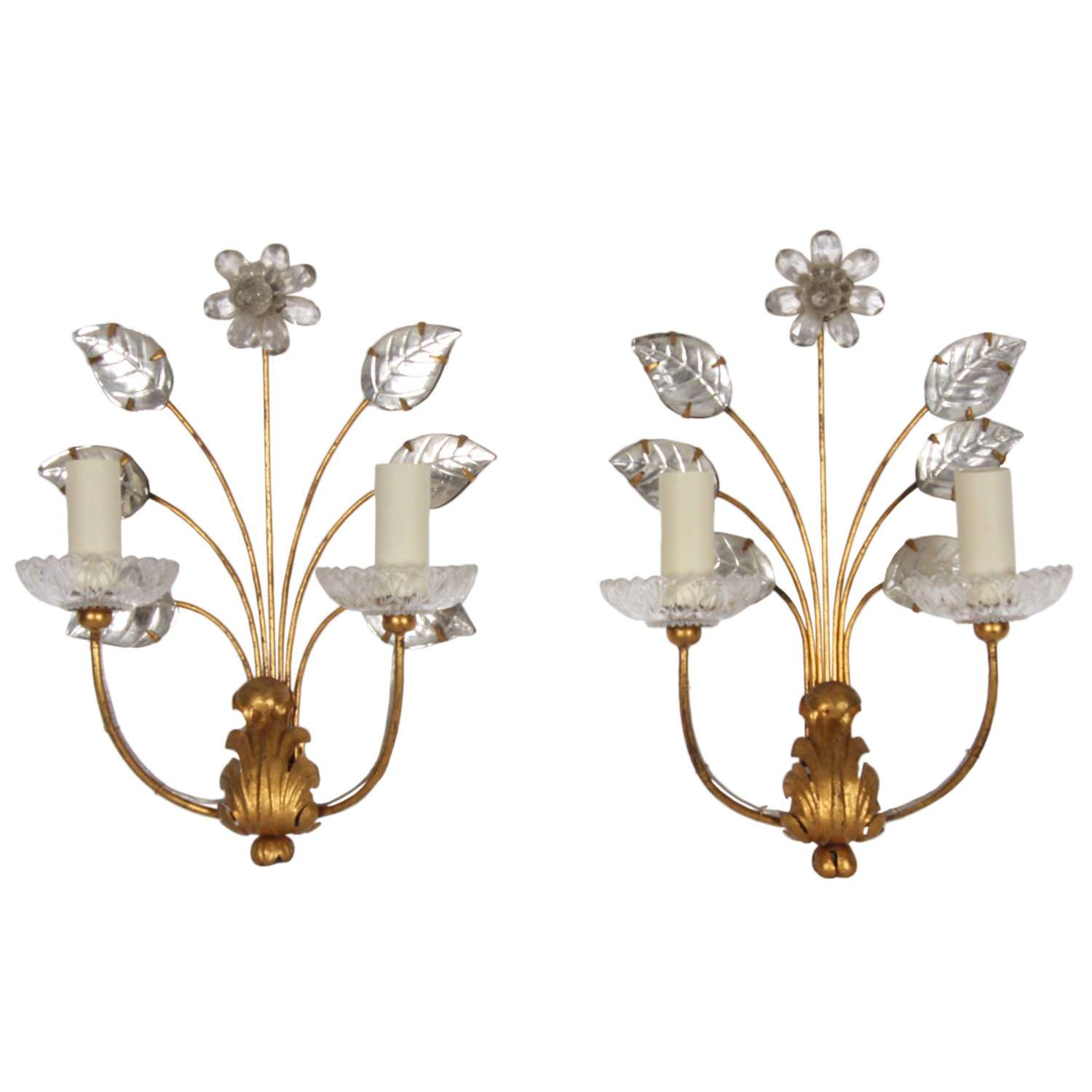 Maison Baguès Pair of Wall Sconces With Flowers