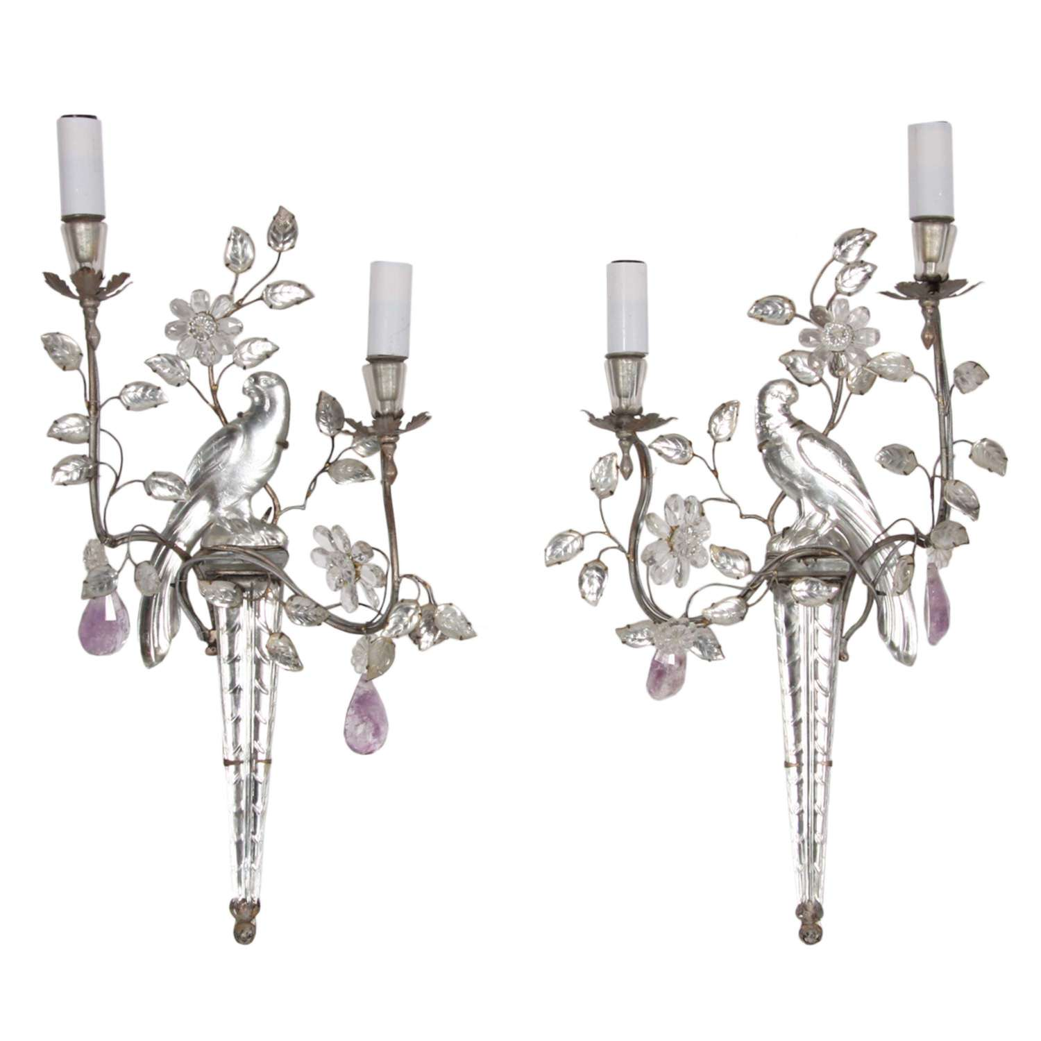 Pair of Maison Baguès Parrot and Torch Wall Sconces