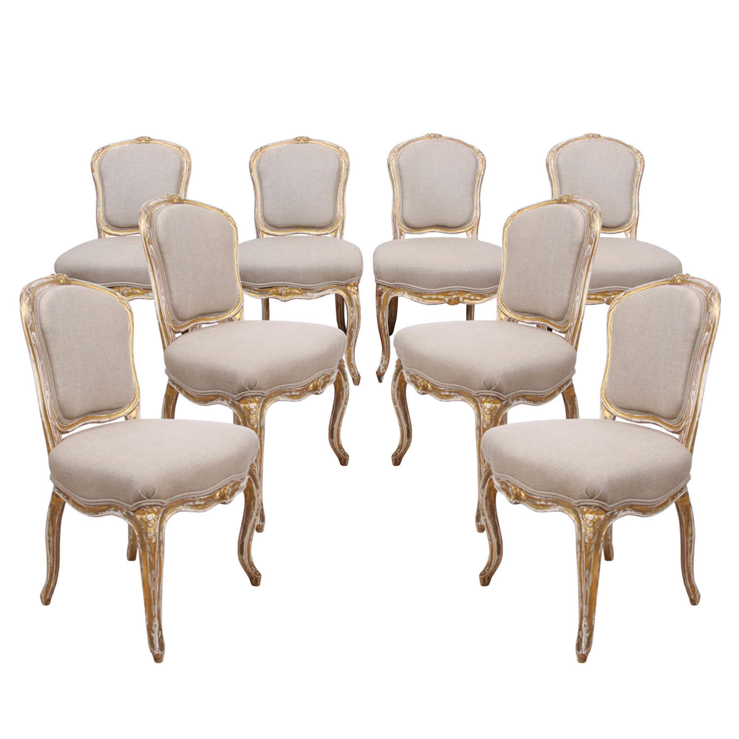 Set of 8 Giltwood Upholstered Dining Chairs