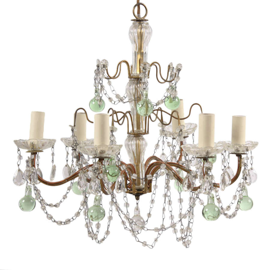Small 1920s French Chandelier with Green Glass Detail