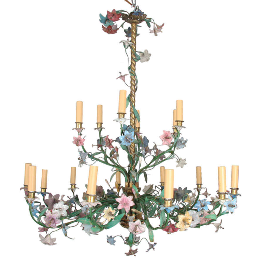 French 19th Century Brass and Polychrome Metal Chandelier