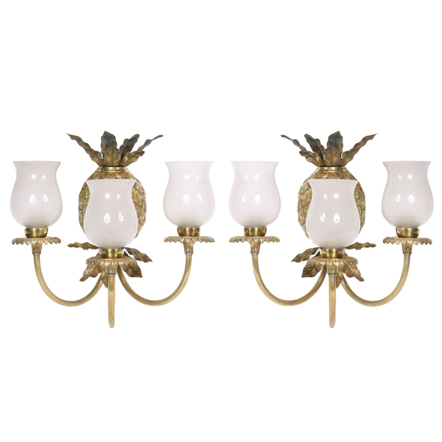 Pair of Glass & Brass Pineapple Wall Lights, French 1940s