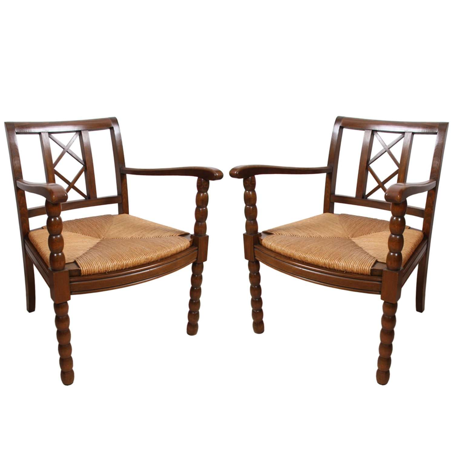 Pair of French 1940s Walnut and Rush Chairs