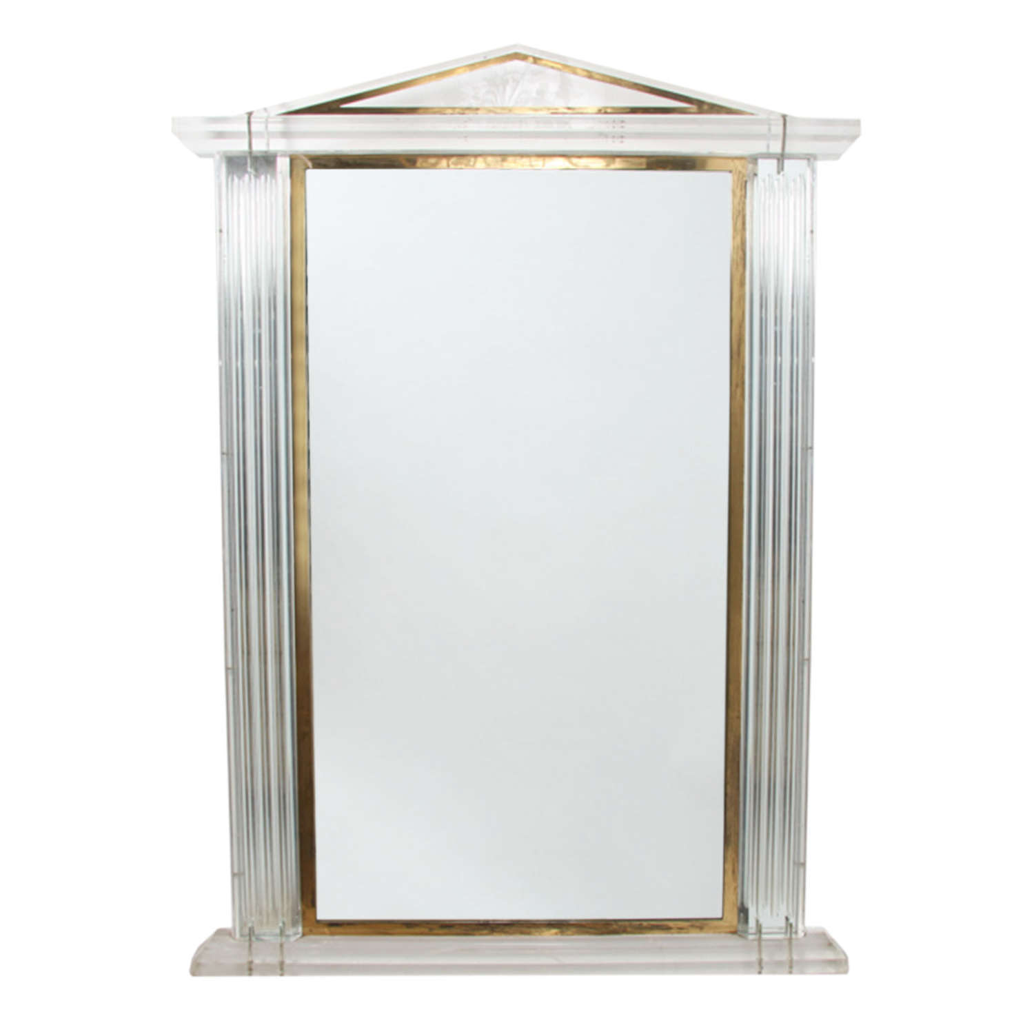 French 1970s Lucite Mirror With Brass Detail