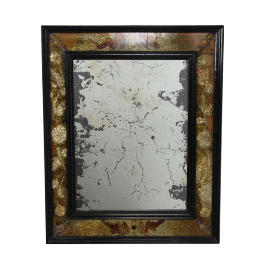 Distressed French Mirror With Gold Eglomise Glass Frame