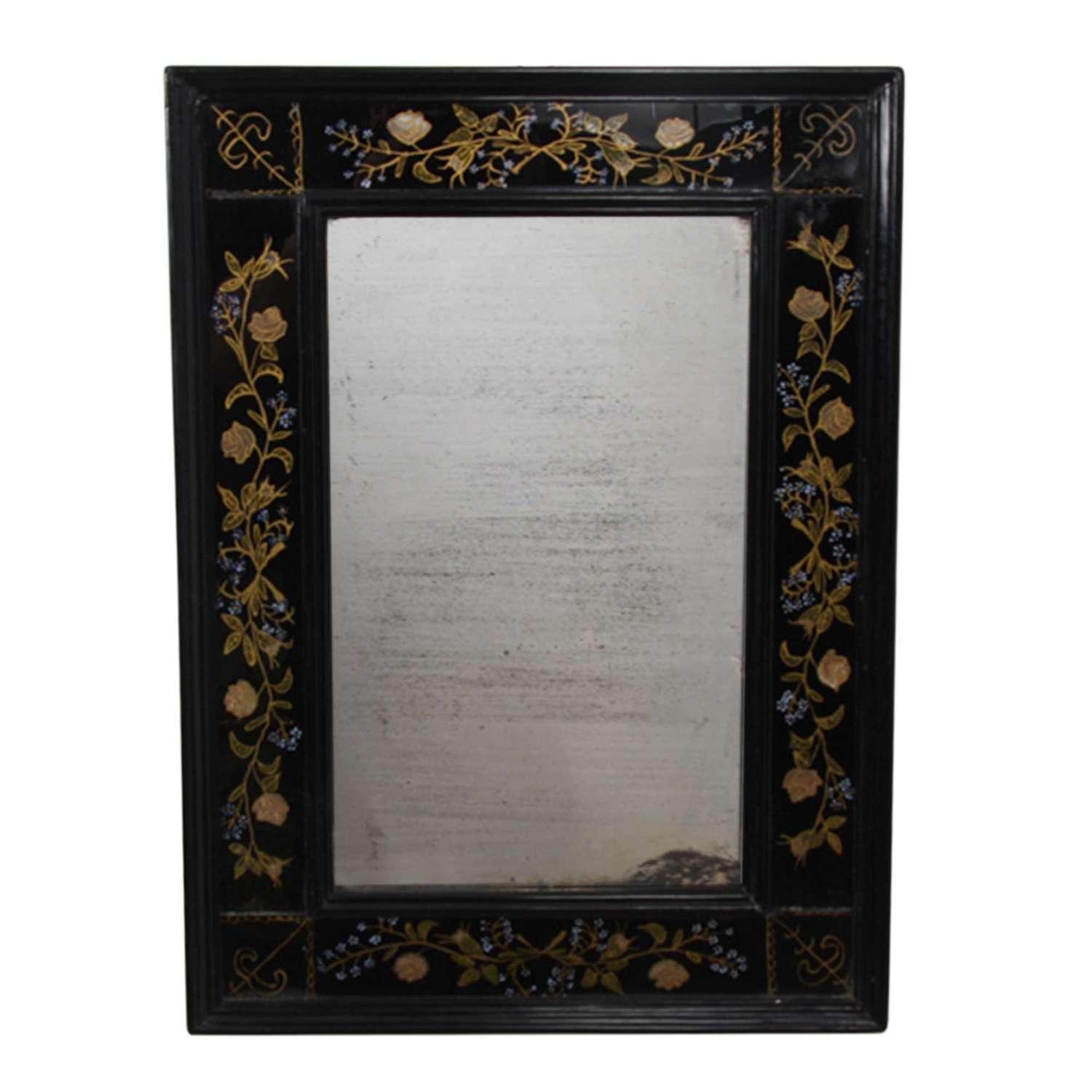 Distressed French Mirror With Black Eglomise Glass Frame