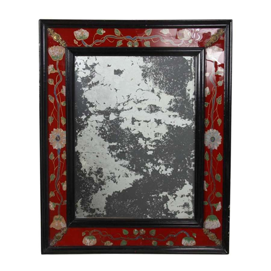 Distressed French Mirror With Red Eglomise Glass Frame