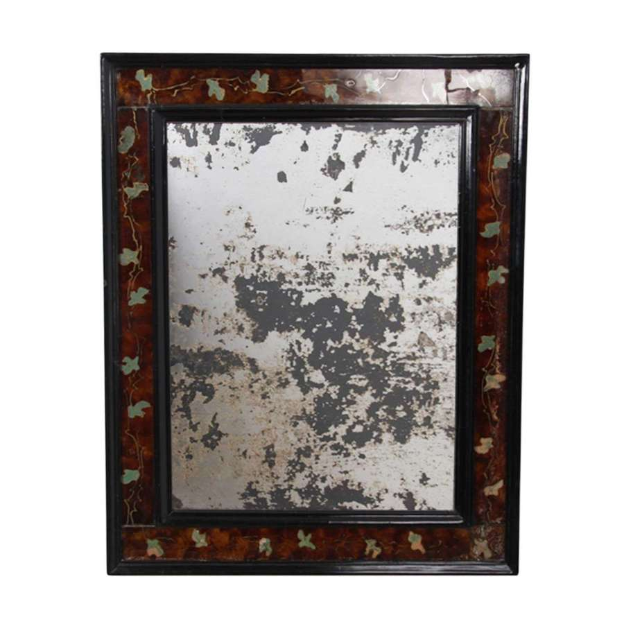 Distressed French Mirror With Coloured Eglomise Glass Frame
