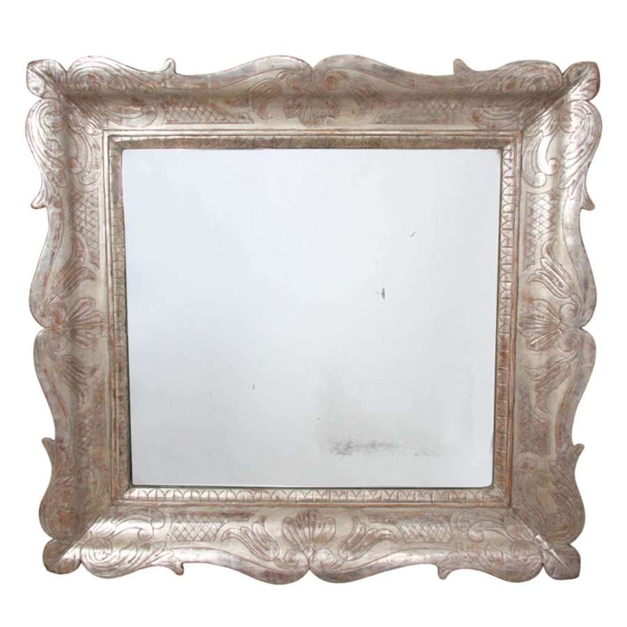 Italian 19th C Carved Wood and Silver Gilt Distressed Mirror