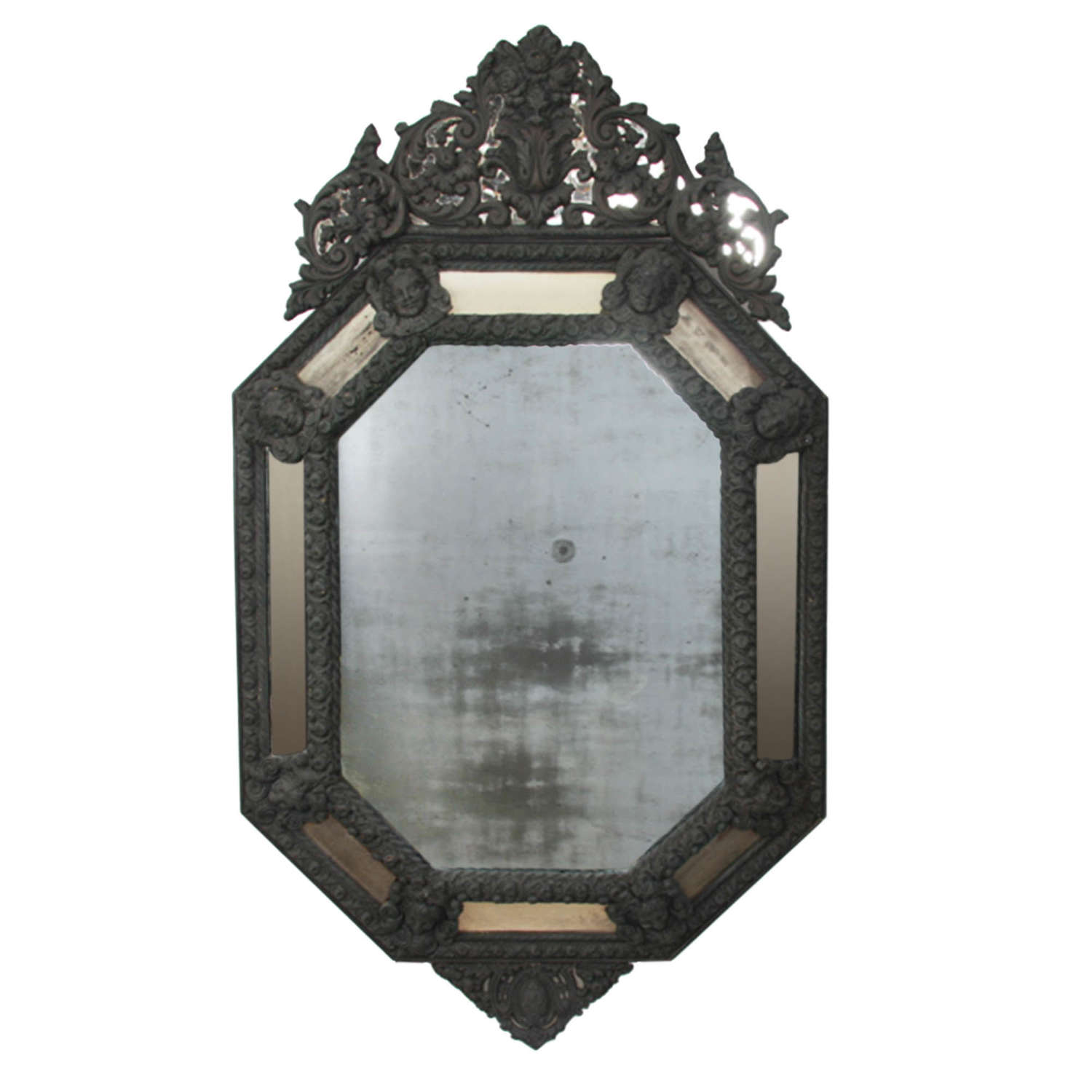 French 19th Century Mercury Glass Mirror with an Oxidised Brass Frame