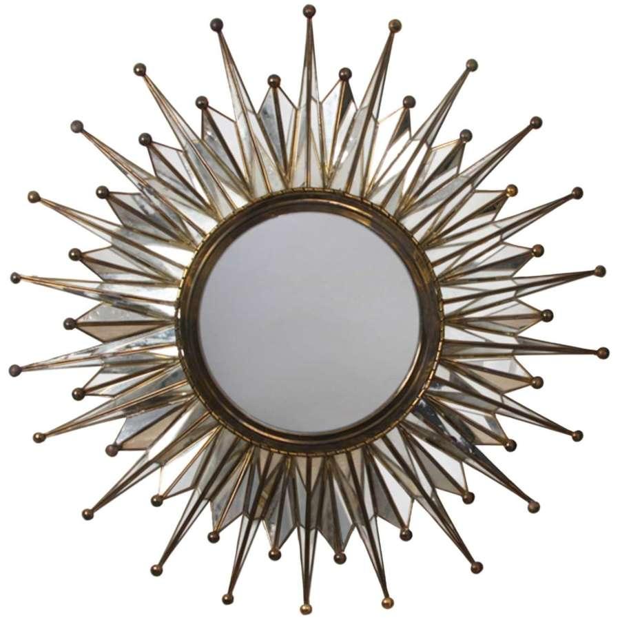 French 1960s Sunburst Mirror