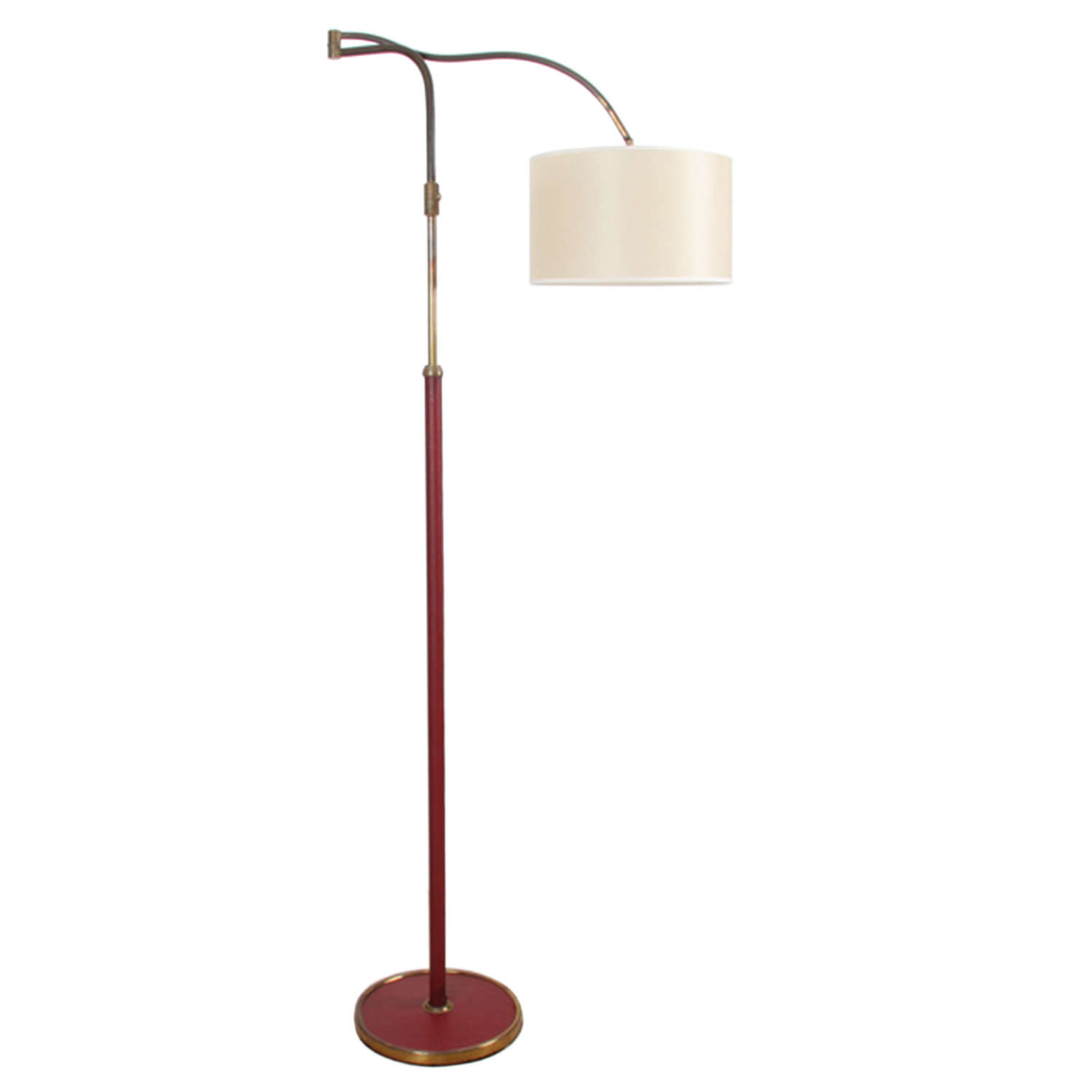 Italian 1950s Red Leather and Brass Swing Arm Floor Lamp