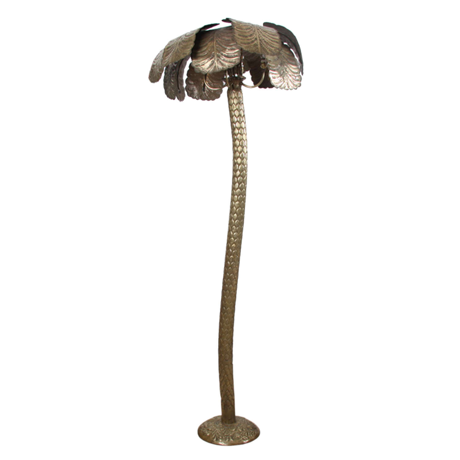 French 1950s Brass Palm Tree Floor Lamp