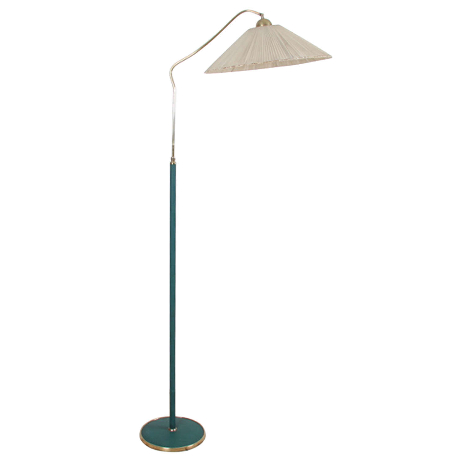 Italian 1950s Green Leather and Brass Floor Lamp