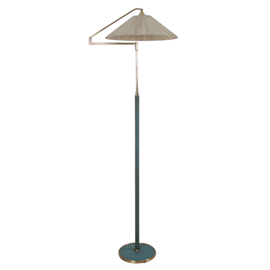 Italian 1950s Green Leather and Brass Swing Arm Floor Lamp