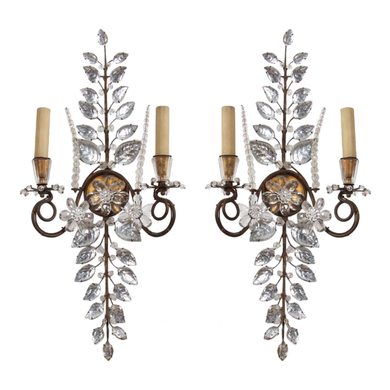 Pair of 1940s Maison Baguès Floral Wall Sconces