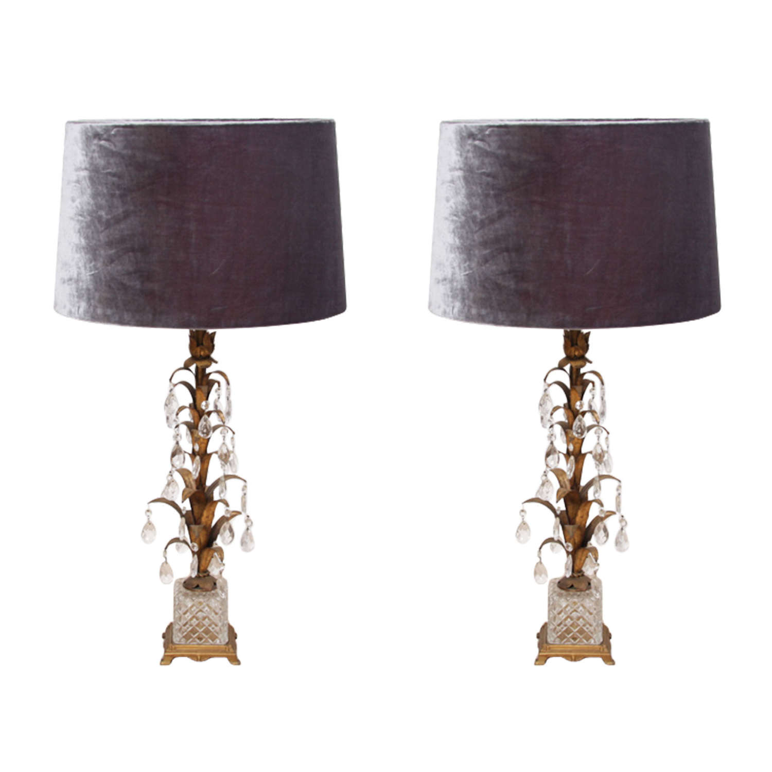 Pair of Italian 1960s Crystal and Tole Metal Table Lamps