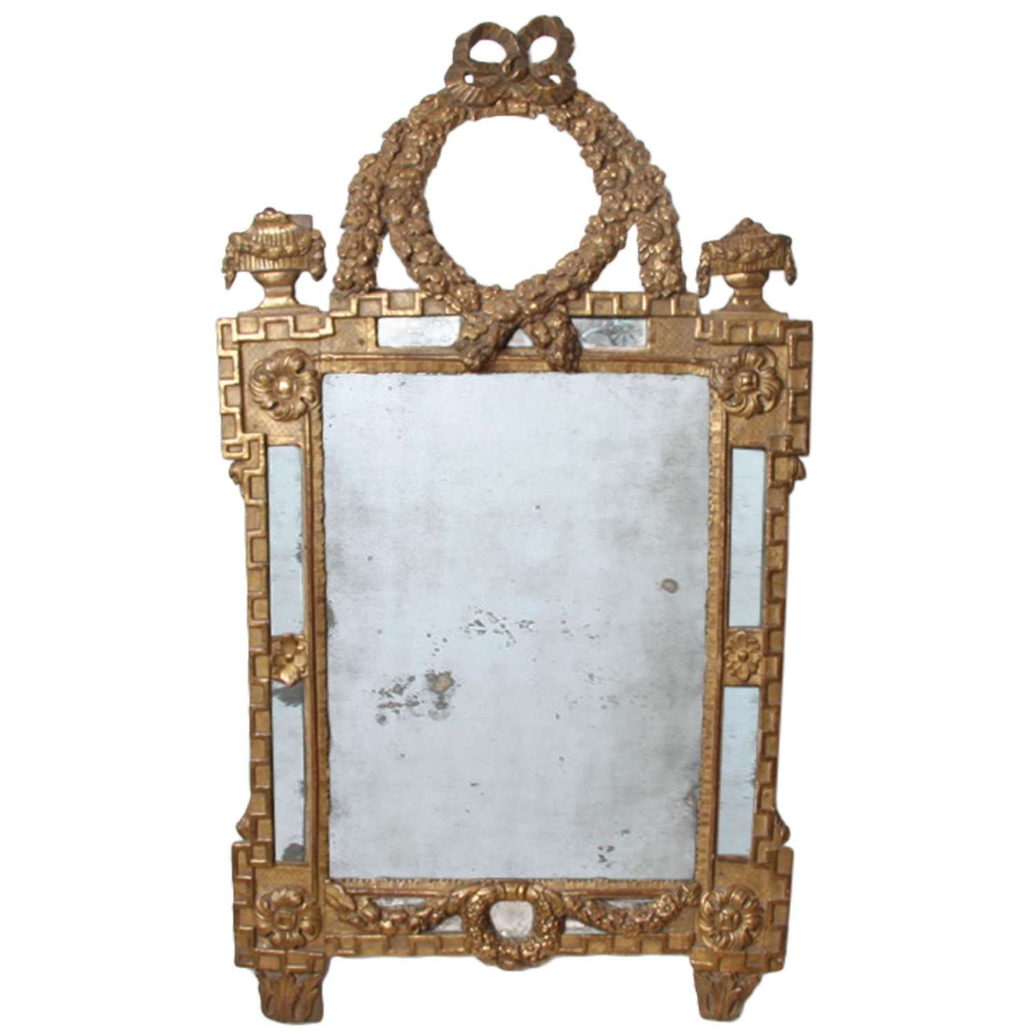 French 18th Century Mirror With Laurel Wreath Detail