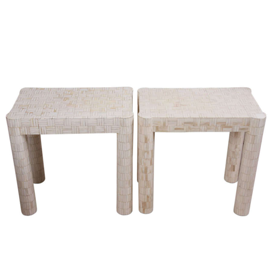 Pair of French 1940s Bone Parquetry Side Tables