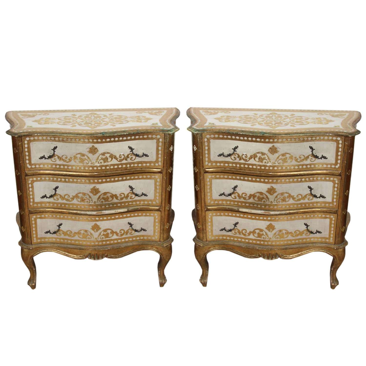 Pair of Italian 1960s Serpentine Fronted Chest of Drawers
