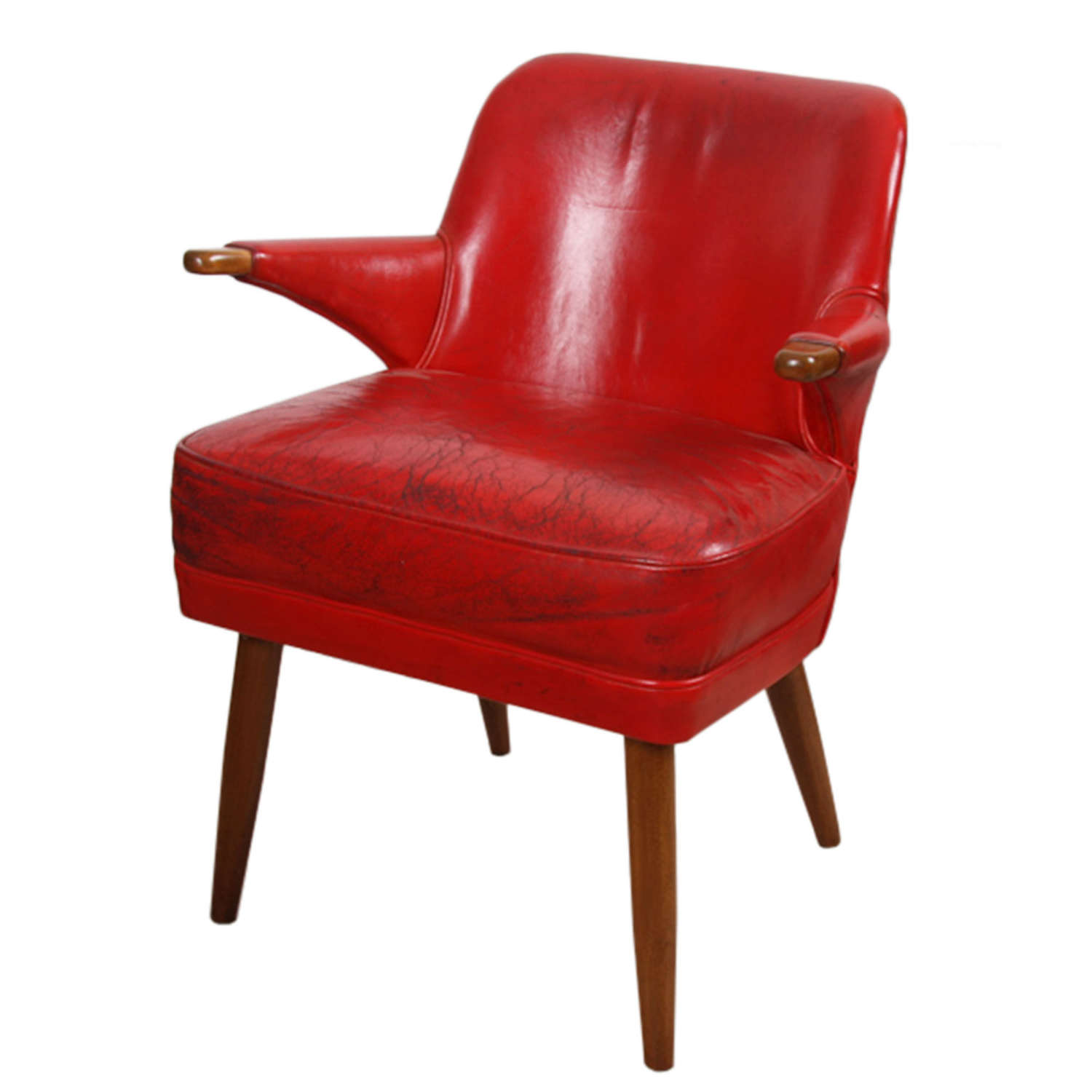 English 1950s Red Leather Chair
